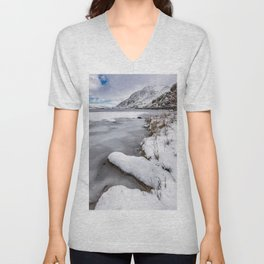 Snowfall at Ogwen Lake Snowdonia Unisex V-Neck