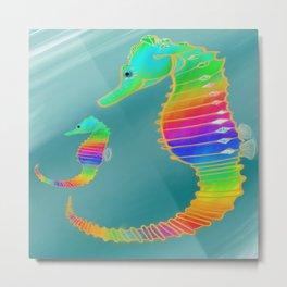 Gemmed Rainbow SeaHorse Metal Print