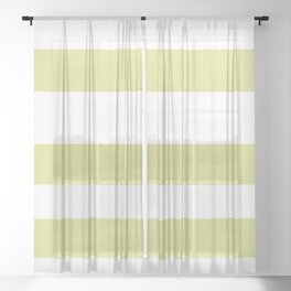 VA Lime Green - Lime Mousse - Bright Cactus Green - Celery Hand Drawn Fat Horizontal Lines on White Sheer Curtain