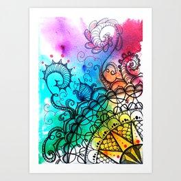Zentangle mandala art Art Print