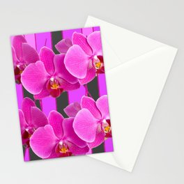 MODERN CHARCOAL GREY COLOR CERISE PURPLE ORCHIDS Stationery Cards