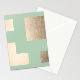 Simply Geometric White Gold Sands on Pastel Cactus Green Stationery Cards