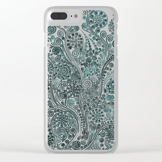 Teal ornaments Clear iPhone Case