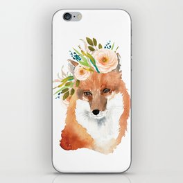 fox with flower crown iPhone Skin