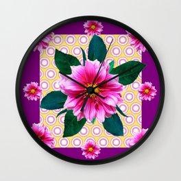 FUCHSIA DAHLIA FLOWERS ABSTRACT Wall Clock