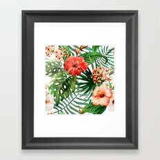 Hibiscus and Palm Leaf Pattern Framed Art Print