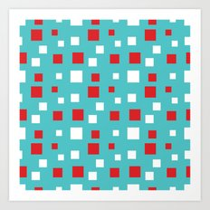 Red and White Squares on Blue Art Print