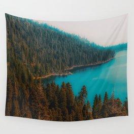 Pine tree and lake view at Emerald Bay Lake Tahoe California USA Wall Tapestry