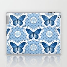 Chinoiseries Porcelain Butterfly Blue Laptop & iPad Skin