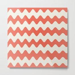 Pantone Living Coral & Cannoli Cream Soft Zigzag Rippled Horizontal Line Pattern Metal Print