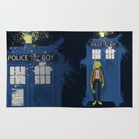 kermit Area & Throw Rugs featuring Doctor Who Kermit by Roe Mesquita