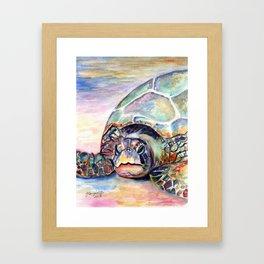Turtle at Poipu Beach Framed Art Print