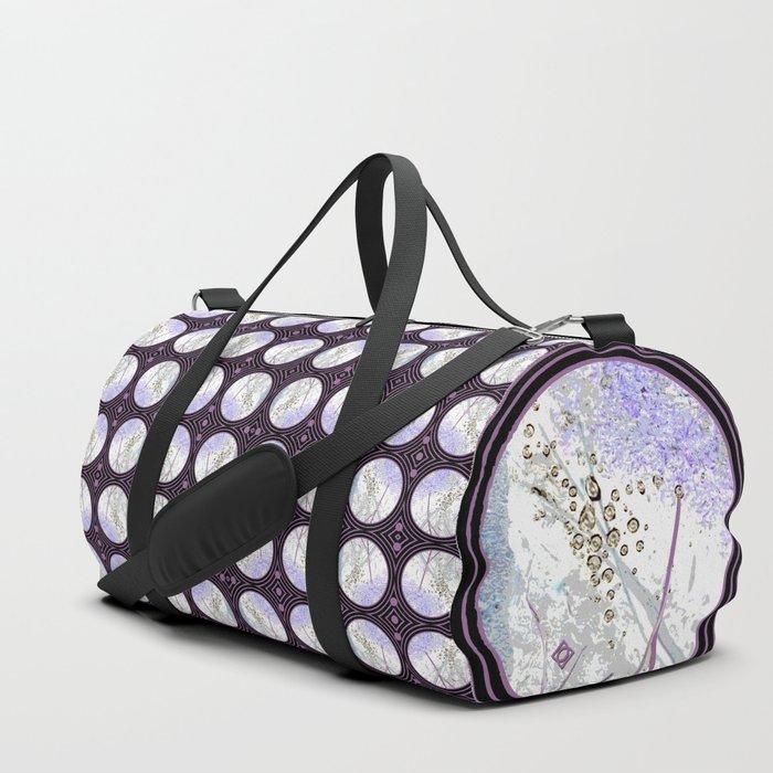 Nature Portals in Periwinkle, Rose & Black Duffle Bag