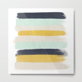 Abstract stripes hand painted brushstrokes mint grey and navy gender neutral color palette Metal Print