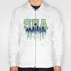 Seattle 12th Man Art Watercolor Space Needle Painting Hoody