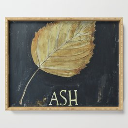Hand-Painted Fall Ash Leaf Serving Tray