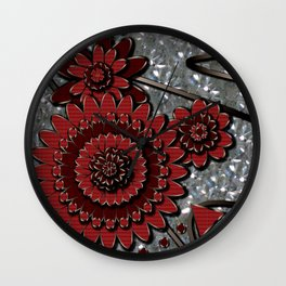 Red Glistens in Crystal  Wall Clock