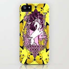 Golden Butterflies  Purple Unicorn Fantasy World Design  iPhone Case