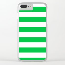 Horizontal Stripes - White and Dark Pastel Green Clear iPhone Case