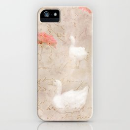Geese, clouds, roses, vintage calligraphy iPhone Case
