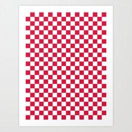 White and Crimson Red Checkerboard Art Print