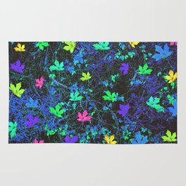 maple leaf in pink green purple blue yellow with blue creepers plants background Rug