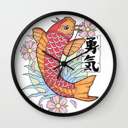 IREZUMI - KOI OF COURAGE Wall Clock