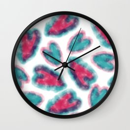 Hand painted pink red teal watercolor romantic hearts Wall Clock