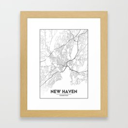 Minimal City Maps - Map Of New Haven, Connecticut, United States Framed Art Print