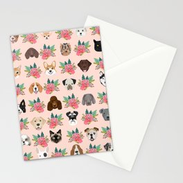 Dogs and cat breeds pet pattern cute faces corgi boston terrier husky airedale Stationery Cards