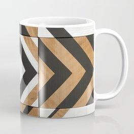 Modern Wood Art, Black and White Chevron Pattern Coffee Mug