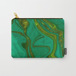 Golden Green Emerald Elegant Marble Print Carry-All Pouch