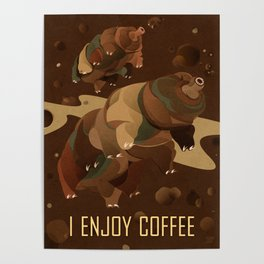 Tardigrade Enjoys Coffee Poster