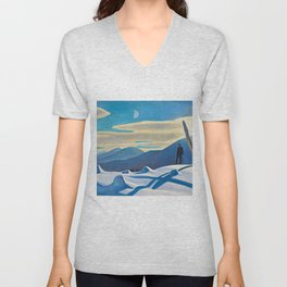 The Trapper, Winter Mountain landscape painting by Rockwell Kent Unisex V-Neck