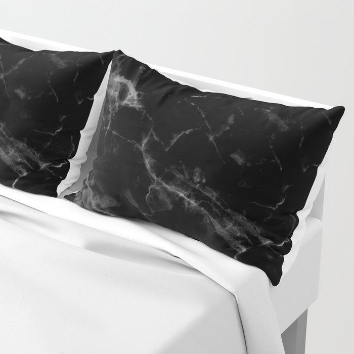 Black Marble Pillow Sham