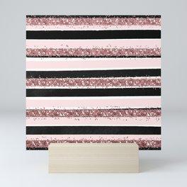 Girly Rose Gold Pink Black Glitter Stripes Pattern Mini Art Print