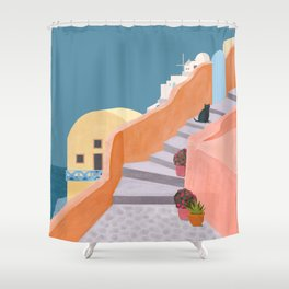 Santorini Pebble Stairs and Houses Shower Curtain