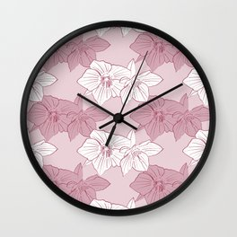 Burgundy Hellebores Wall Clock