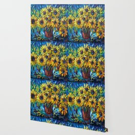 SUNFLOWERS — Palette knife Wallpaper