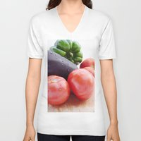 vegetables V-neck T-shirts featuring Vegetables by Carlo Toffolo