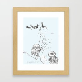 Two Tailed Duck and Jellyfish Pale Blue Framed Art Print