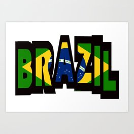 Brazil Font With Brazilian Flag Art Print