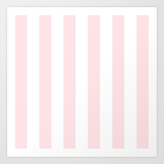 Simply Vertical Stripes Flamingo Pink on White Art Print