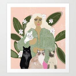 Cat Mom Art Print