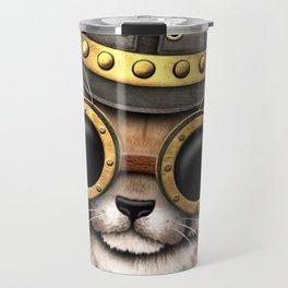 Steampunk Baby Cheetah Cub Travel Mug