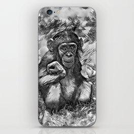 AnimalArtBW_Chimpanzee_20170603_by_JAMColorsSpecial iPhone Skin