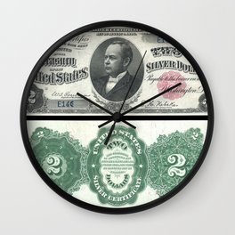 1891 U.S. Federal Reserve Two Dollar William Windom Bank Note Wall Clock