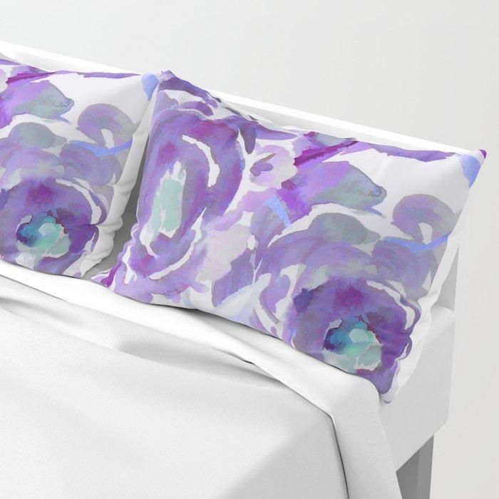 Purple Haze Painterly Floral Abstract Pillow Sham