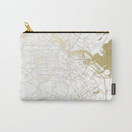 Amsterdam White on Gold Street Map Carry-All Pouch