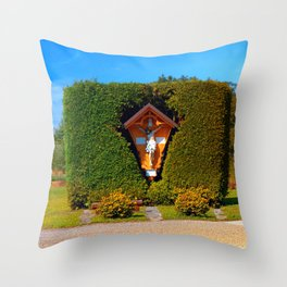 Jesus, a cross and a trimmed bush Throw Pillow